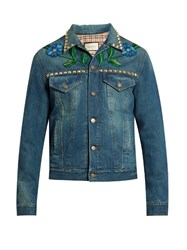 Gucci Embroidered Denim Jacket Blue Multi