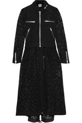 Sacai Broderie Anglaise Cotton Coat Black