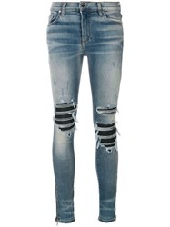 Amiri Biker Panel Distressed Skinny Jeans Cotton Spandex Elastane Blue