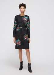Ms Min 'S Long Sleeve Quilted Dress In Black Size 6 Silk Top Layer Wool Polypropylene