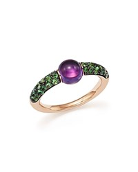 Pomellato M'ama Non M'ama Ring With Amethyst And Tsavorite In 18K Rose Gold Purple Green