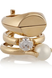 Maison Martin Margiela Set Of Four Rose Gold Plated Cubic Zirconia And Faux Pearl Rings