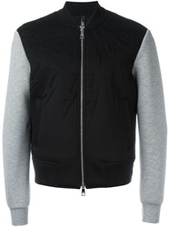 Neil Barrett Zipped Varsity Jacket Black