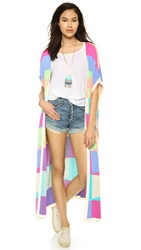 Mara Hoffman Long Poncho Cardigan Beams Peach