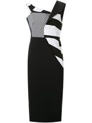 Antonio Berardi Striped Fitted Dress Black