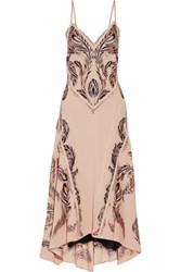 Roberto Cavalli Embroidered Crepe And Tulle Midi Dress Antique Rose