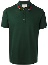 Gucci House Web Embroidered Polo Shirt Green