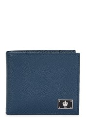 Dolce And Gabbana Blue Saffiano Leather Wallet Navy