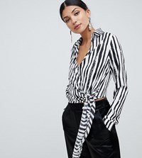 Missguided Tall Tie Side Blouse In Mono Stripe Black And White Multi