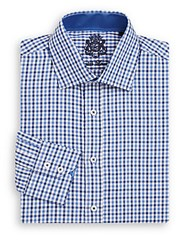 English Laundry Regular Fit Gingham Cotton Dress Shirt Navy