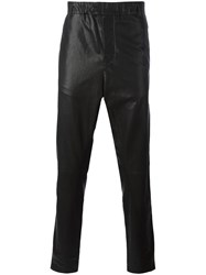 Ann Demeulemeester Grise Leather Tapered Trousers Black