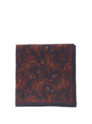 Dunhill Paisley Print Silk Pocket Square Navy Multi