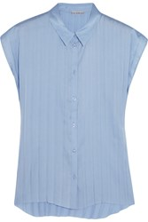 Dagmar Elena Pleated Satin Top Blue