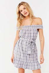 Urban Outfitters Uo Off The Shoulder Plaid Ruffle Dress Blue Multi