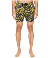 Vilebrequin Moorise Superflex Gold Palms Swim Trunk Navy Gold Men's Swimwear Blue