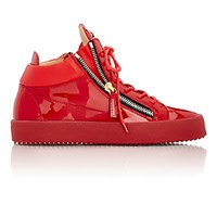 Giuseppe Zanotti Men's Patent Leather Double Zip Sneakers Red
