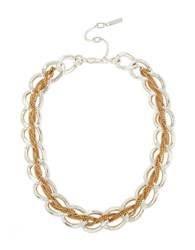 Kenneth Cole Two Tone Braided Woven Link Collar Necklace Silver