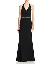 Js Collections Beaded Halter Gown Black