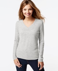 Charter Club Cashmere V Neck Sweater Heather Crystal