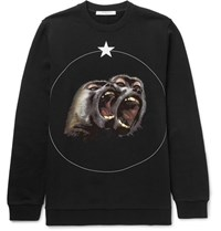 Givenchy Monkey Brothers Cuban Fit Printed Fleece Back Cotton Jersey Sweatshirt Black