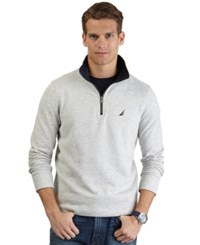 Nautica Big And Tall Quarter Zip Front Fleece Grey Heather