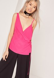 Missguided Satin Wrap Tie Cami Top Pink Pink