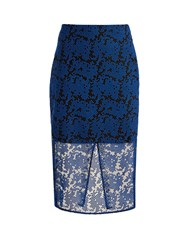 Diane Von Furstenberg Geometric Embroidered Tulle Pencil Skirt Blue