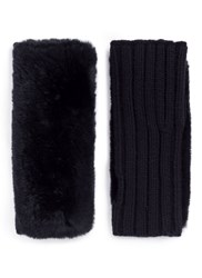 Yves Salomon Rabbit Fur Panel Wool Cashmere Knit Fingerless Gloves Black