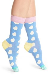 Happy Socks Women's Diagonal Hearts Light Blue Pastel