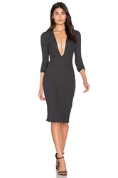Nytt Long Sleeve Plunge Dress Charcoal