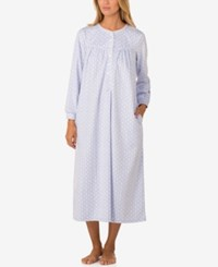Lanz Of Salzburg Lace Trimmed Printed Microfleece Nightgown Blue White Print