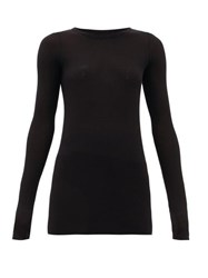 Rick Owens Round Neck Ribbed Jersey Long Sleeved T Shirt Black