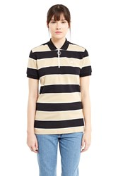 Lacoste For Opening Ceremony Cyclist Zipper Collar Polo Shirt Brown Black