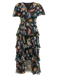 Etro Cumbria Floral Print Silk Chiffon Midi Dress Black Multi