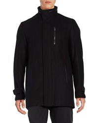 Calvin Klein Wool Blend Car Coat Black