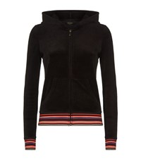 Juicy Couture Floral Embroidered Velour Hoodie Female Black