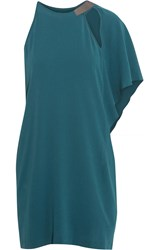 Halston Draped Crepe Mini Dress Blue