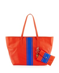 Cynthia Rowley Hayden Striped Leather Tote Bag Coral Cobalt