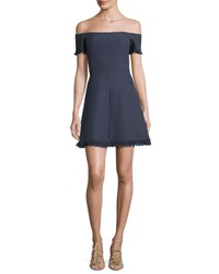 Rebecca Taylor Off The Shoulder Suiting Fit And Flare Dress Blue Multi