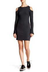 Nytt Ribbed Knit Cold Shoulder Sweater Dress Gray