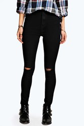 Boohoo Ripped Knee Super Skinny Tube Jeans Black