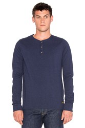 Scotch And Soda Longsleeve Grandad Tee In Cotton Lycra Neps Quality Blue