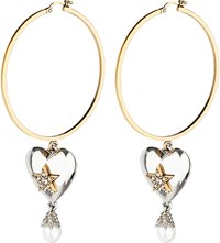 Alexander Mcqueen Heart Pearl Hoop Earrings Brass