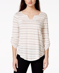 American Rag Striped Lace Trim Pullover Top Only At Macy's Sphinx Stripe