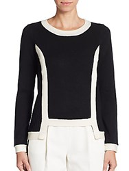 Milly Hi Lo Wool And Cashmere Sweater Black White