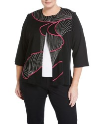 Ming Wang 3 4 Sleeve Jacket With Embroidery Detail Black Red