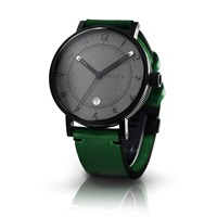 Bravur Watches Black Case Grey Face And Green Strap Black Green Grey