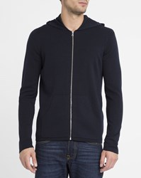 Sandro Navy Wire Zipped Hooded Sweatshirt Blue