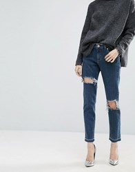 Asos Kimmi Shrunken Boyfriend Jeans In Rachel Dark Stonewash With Rips And Let Down Hem Darkwash Blue Grey