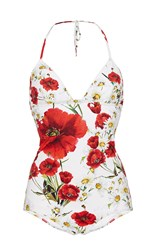Dolce And Gabbana Floral Halter Neck One Piece Swimsuit Red